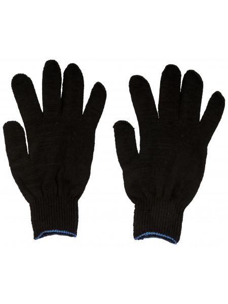 Перчатки вязаные упрочненные ( 5 нитей ) черные х/б