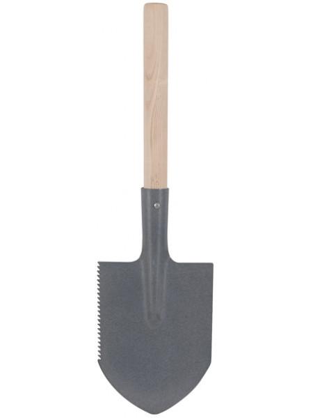 Лопатка туристическая с деревянным черенком  150x215x550 мм