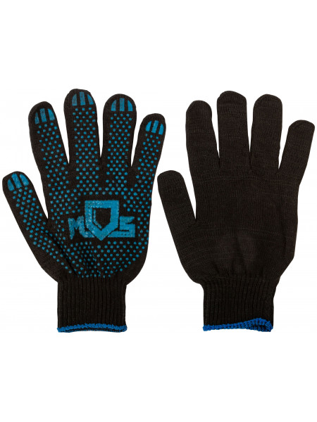 Перчатки вязаные черные х/б с ПВХ 4 нити 10 класс вязки