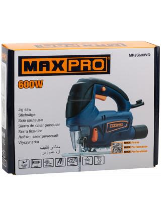 MAX-PRO Лобзик Электрический 600Вт 500-3000ход/мин Д/П/М - 65/30/8 мм 2кг Быстрозажимной патрон маятник Резиновые вставки кор.