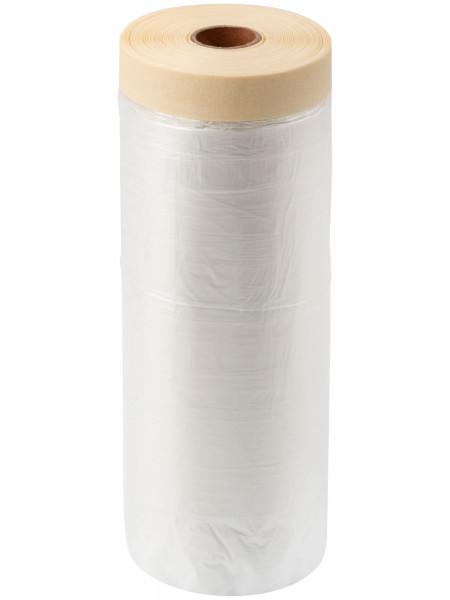 Укрывная пленка с малярной лентой 140 см х 33 м статически заряжена 7 мкр.