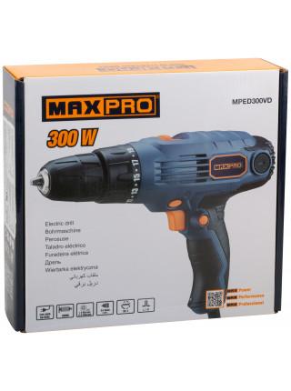 MAX-PRO Дрель-Шуруповерт электрическая 300Вт 0-450/0-1350об/мин подсветка  Быстрозажимной патрон 10мм Резиновые вставки 240 Нм 19+1 11 кг бы