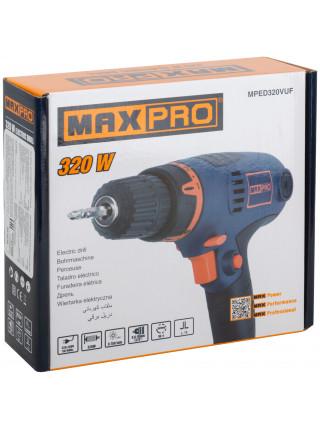 MAX-PRO Дрель-Шуруповерт электрическая 320Вт 0-750об/мин подсветка  Быстрозажимной патрон 10мм Резиновые вставки 160 Нм 16+1 11 кг быстрый д