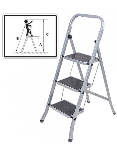 Лестница-стремянка стальная 2 широкие ступени  Н=83 см вес 345 кг