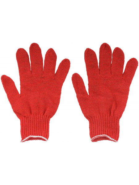 Перчатки вязаные упрочненные ( 4 нити ) красные х/б
